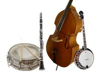 Banjo, Double Bass, Clarinet/Sax or Trumpet, and Drums