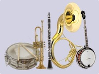 Banjo, Sousaphone, Clarinet/Sax, Trumpet, and Drums